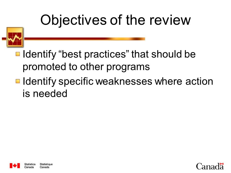 Objectives of the review Identify best practices that should be promoted to other programs Identify specific weaknesses where action is needed