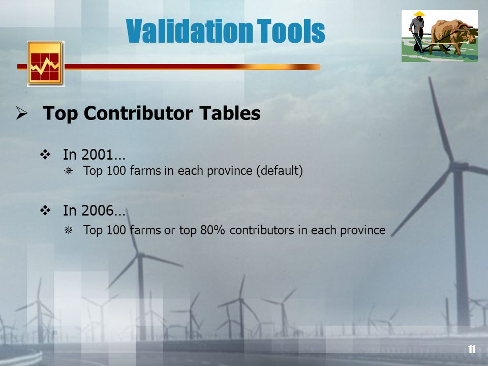 11 Validation Tools Top Contributor Tables In 2001… Top 100 farms in each province (default) In 2006… Top 100 farms or top 80% contributors in each province
