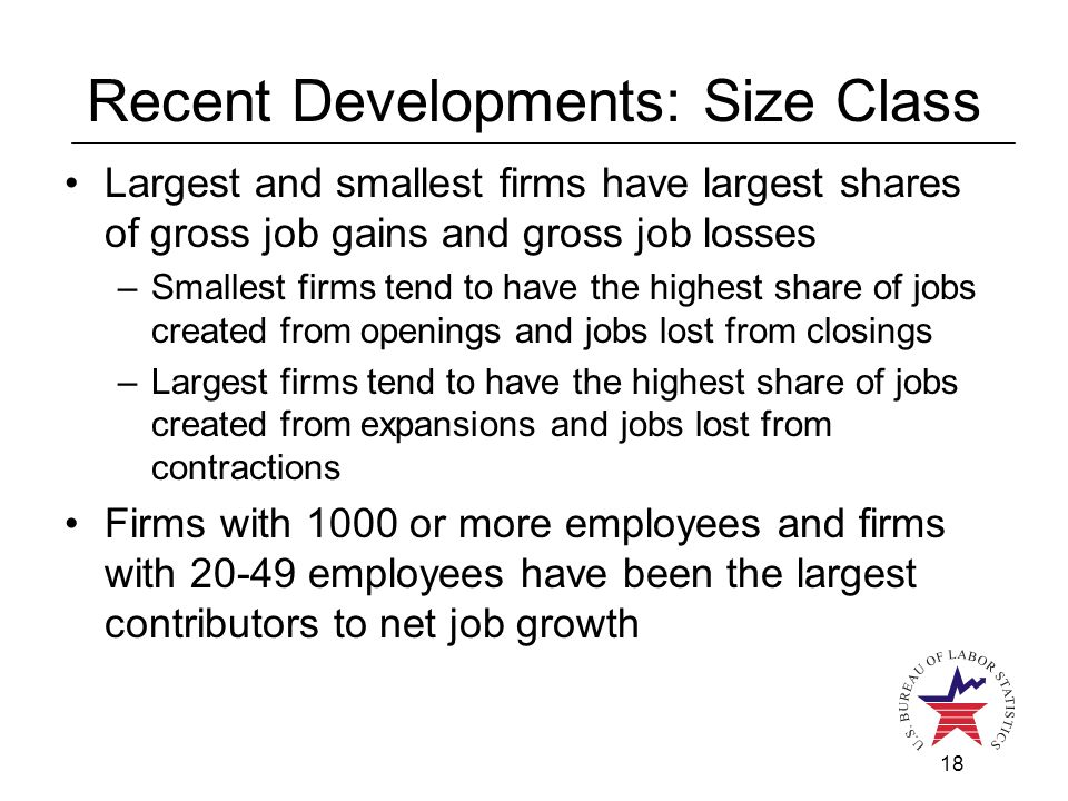 18 Recent Developments: Size Class Largest and smallest firms have largest shares of gross job gains and gross job losses –Smallest firms tend to have the highest share of jobs created from openings and jobs lost from closings –Largest firms tend to have the highest share of jobs created from expansions and jobs lost from contractions Firms with 1000 or more employees and firms with 20-49 employees have been the largest contributors to net job growth