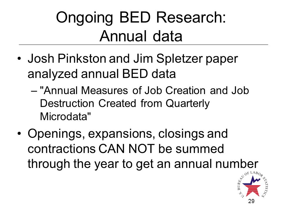 29 Ongoing BED Research: Annual data Josh Pinkston and Jim Spletzer paper analyzed annual BED data – Annual Measures of Job Creation and Job Destruction Created from Quarterly Microdata Openings, expansions, closings and contractions CAN NOT be summed through the year to get an annual number