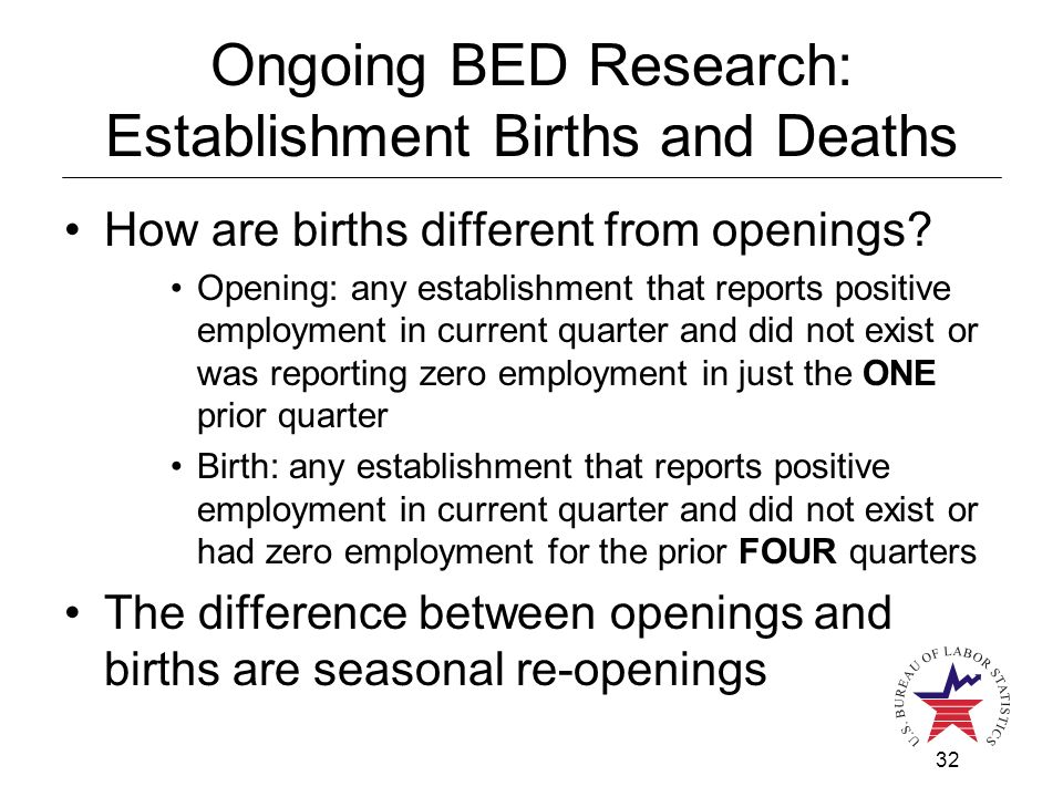 32 Ongoing BED Research: Establishment Births and Deaths How are births different from openings.