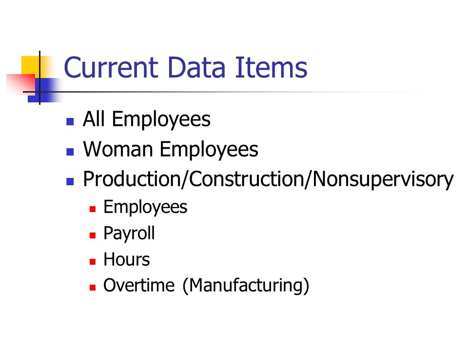 Current Data Items All Employees Woman Employees Production/Construction/Nonsupervisory Employees Payroll Hours Overtime (Manufacturing)