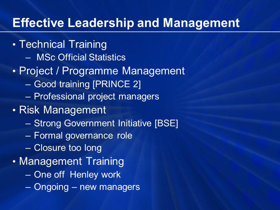 Effective Leadership and Management Technical Training – MSc Official Statistics Project / Programme Management –Good training [PRINCE 2] –Professional project managers Risk Management –Strong Government Initiative [BSE] –Formal governance role –Closure too long Management Training –One off Henley work –Ongoing – new managers