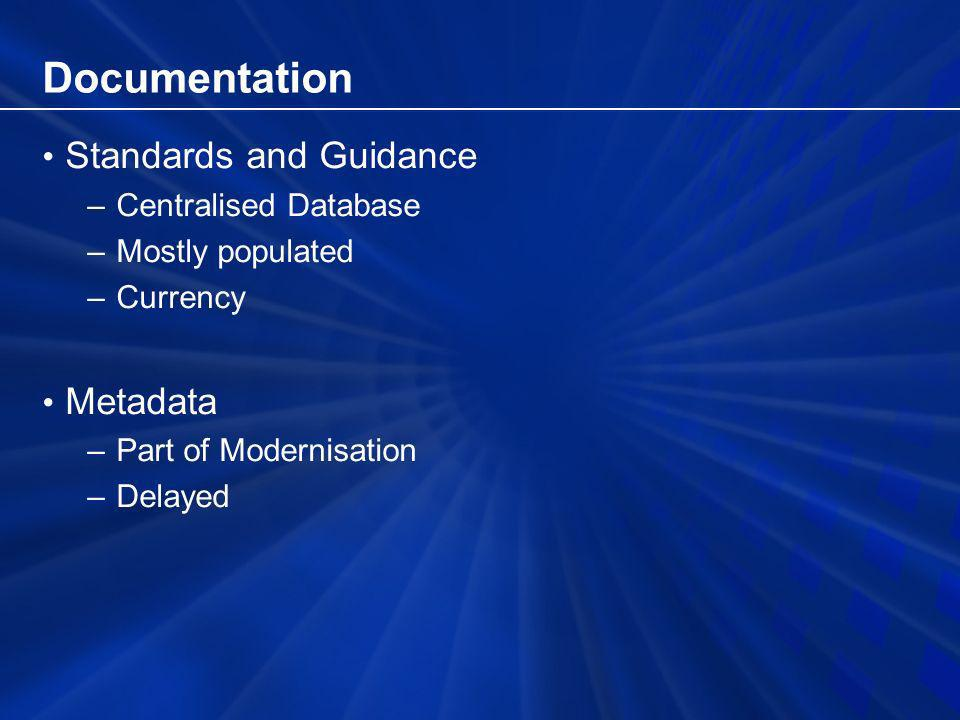Documentation Standards and Guidance –Centralised Database –Mostly populated –Currency Metadata –Part of Modernisation –Delayed