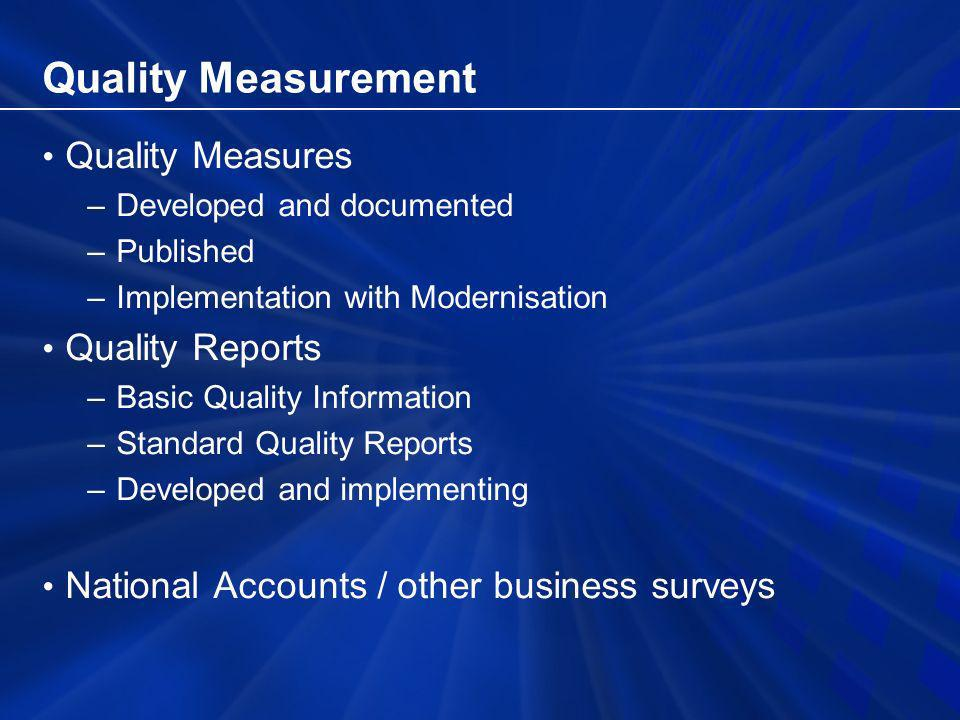 Quality Measurement Quality Measures –Developed and documented –Published –Implementation with Modernisation Quality Reports –Basic Quality Information –Standard Quality Reports –Developed and implementing National Accounts / other business surveys
