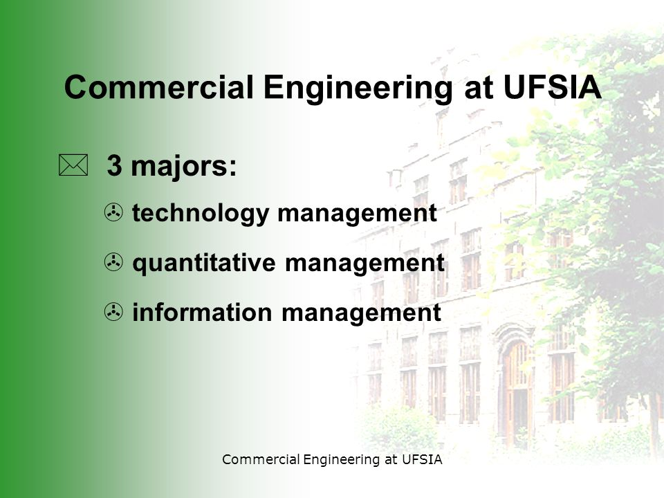 Commercial Engineering at UFSIA * 3 majors: > technology management > quantitative management > information management