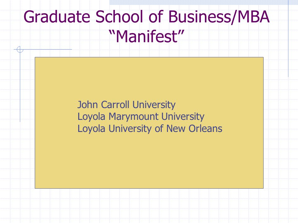 Graduate School of Business/MBA Manifest John Carroll University Loyola Marymount University Loyola University of New Orleans