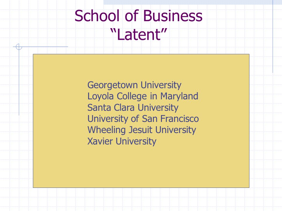 School of Business Latent Georgetown University Loyola College in Maryland Santa Clara University University of San Francisco Wheeling Jesuit University Xavier University