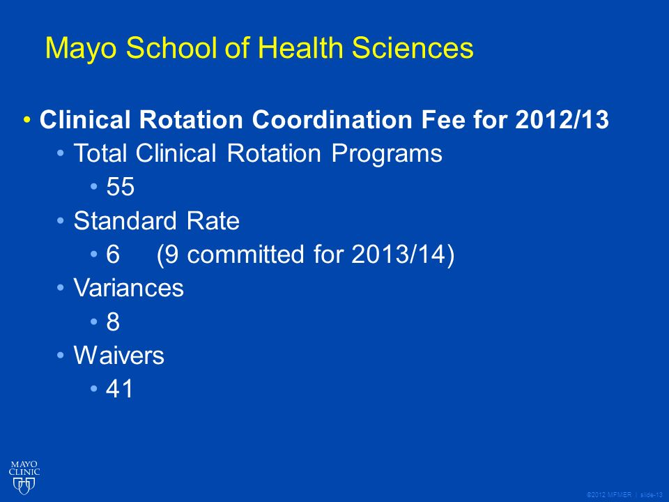 ©2012 MFMER | slide-13 Mayo School of Health Sciences Clinical Rotation Coordination Fee for 2012/13 Total Clinical Rotation Programs 55 Standard Rate 6 (9 committed for 2013/14) Variances 8 Waivers 41