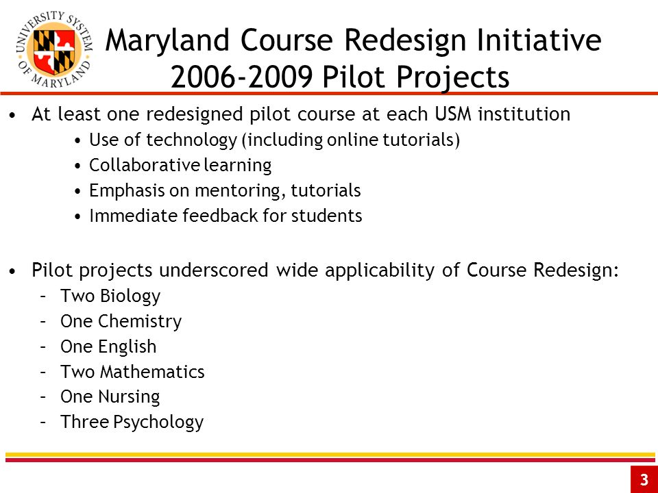 3 Maryland Course Redesign Initiative 2006-2009 Pilot Projects At least one redesigned pilot course at each USM institution Use of technology (including online tutorials) Collaborative learning Emphasis on mentoring, tutorials Immediate feedback for students Pilot projects underscored wide applicability of Course Redesign: –Two Biology –One Chemistry –One English –Two Mathematics –One Nursing –Three Psychology
