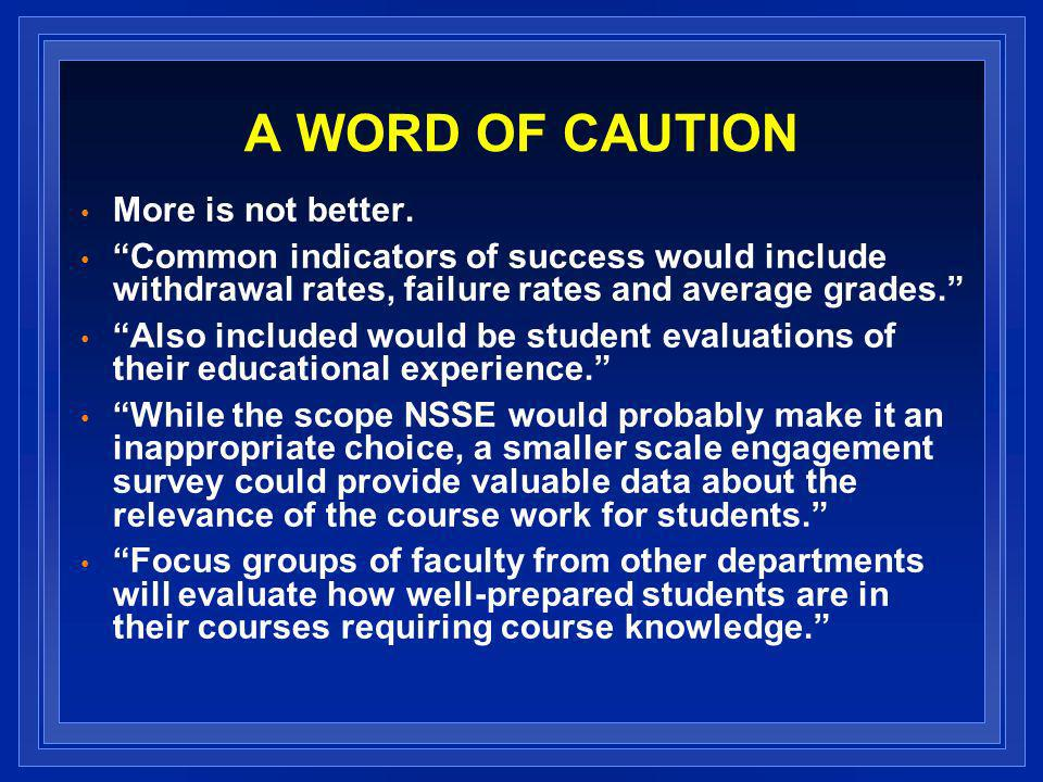 A WORD OF CAUTION More is not better.