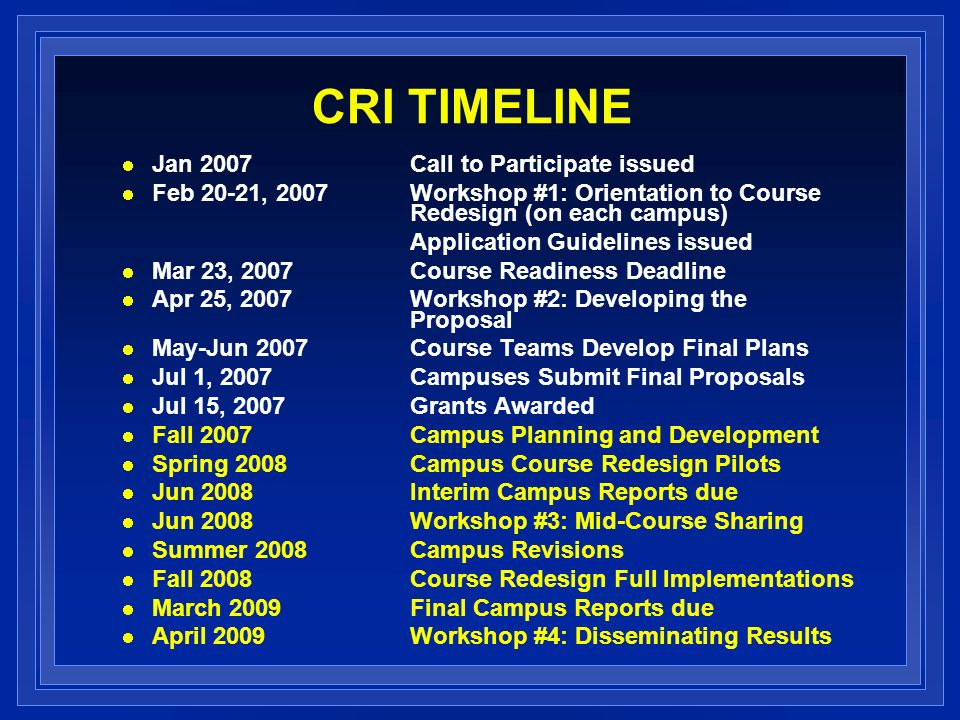 CRI TIMELINE Jan 2007Call to Participate issued Feb 20-21, 2007Workshop #1: Orientation to Course Redesign (on each campus) Application Guidelines issued Mar 23, 2007 Course Readiness Deadline Apr 25, 2007 Workshop #2: Developing the Proposal May-Jun 2007Course Teams Develop Final Plans Jul 1, 2007Campuses Submit Final Proposals Jul 15, 2007 Grants Awarded Fall 2007Campus Planning and Development Spring 2008Campus Course Redesign Pilots Jun 2008 Interim Campus Reports due Jun 2008Workshop #3: Mid-Course Sharing Summer 2008Campus Revisions Fall 2008Course Redesign Full Implementations March 2009Final Campus Reports due April 2009Workshop #4: Disseminating Results