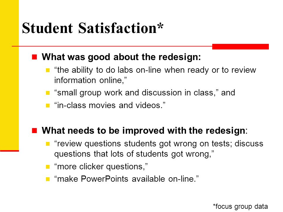 Student Satisfaction* What was good about the redesign: the ability to do labs on-line when ready or to review information online, small group work and discussion in class, and in-class movies and videos.