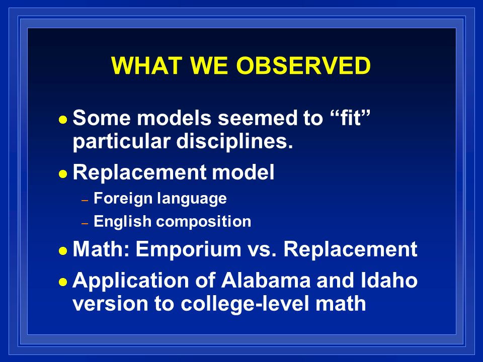 WHAT WE OBSERVED Some models seemed to fit particular disciplines.