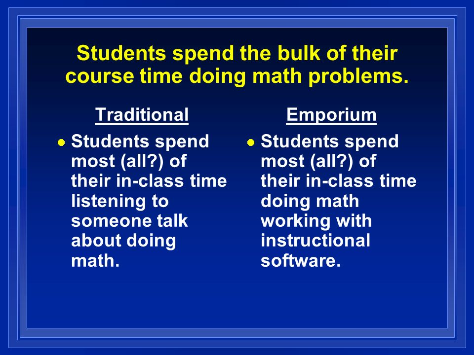 Students spend the bulk of their course time doing math problems.