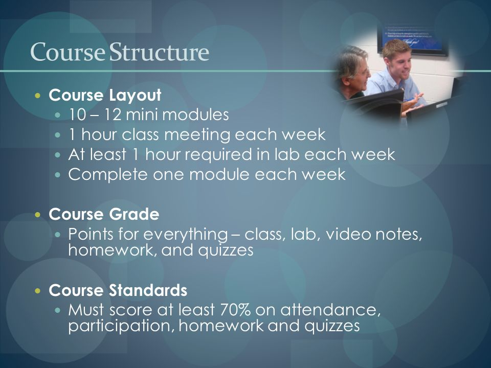 Course Layout 10 – 12 mini modules 1 hour class meeting each week At least 1 hour required in lab each week Complete one module each week Course Grade Points for everything – class, lab, video notes, homework, and quizzes Course Standards Must score at least 70% on attendance, participation, homework and quizzes Course Structure