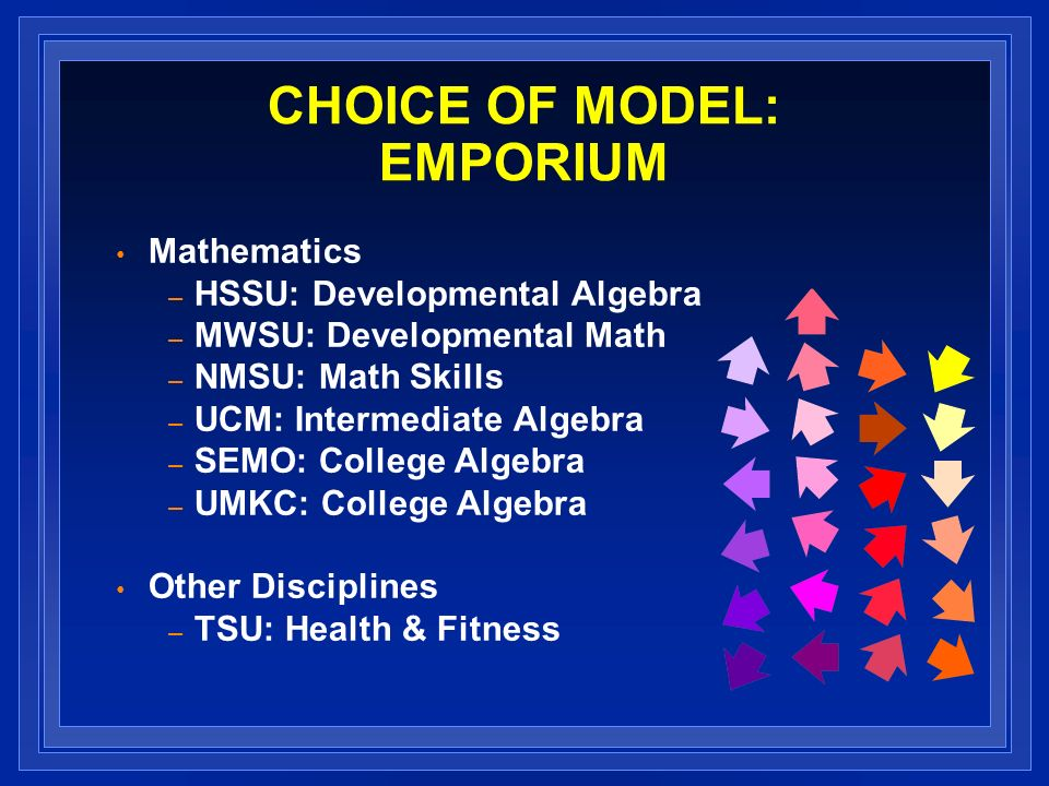 CHOICE OF MODEL: EMPORIUM Mathematics – HSSU: Developmental Algebra – MWSU: Developmental Math – NMSU: Math Skills – UCM: Intermediate Algebra – SEMO: College Algebra – UMKC: College Algebra Other Disciplines – TSU: Health & Fitness