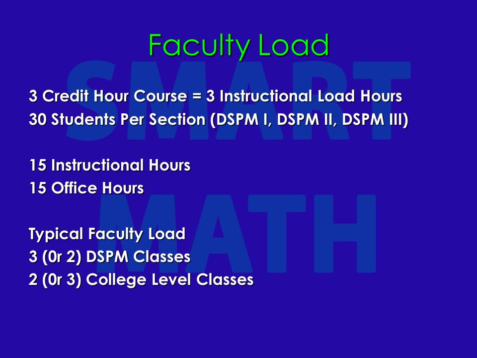 Faculty Load 3 Credit Hour Course = 3 Instructional Load Hours 30 Students Per Section (DSPM I, DSPM II, DSPM III) 15 Instructional Hours 15 Office Hours Typical Faculty Load 3 (0r 2) DSPM Classes 2 (0r 3) College Level Classes
