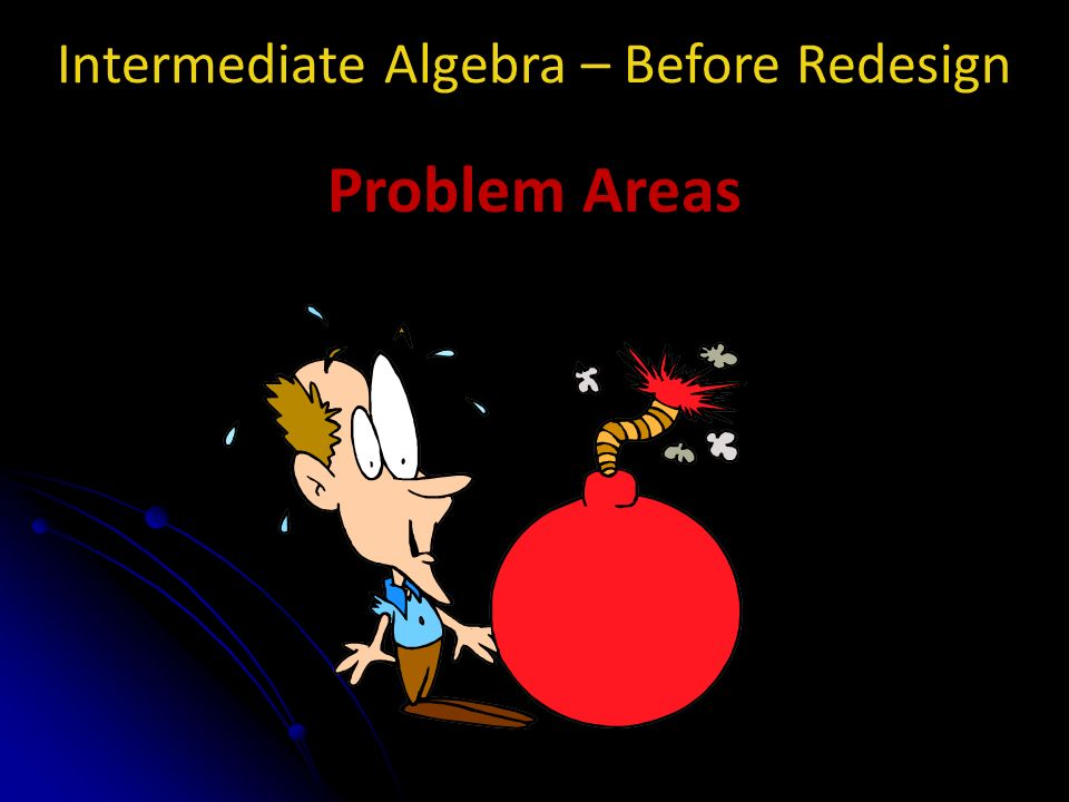 Intermediate Algebra – Before Redesign Problem Areas
