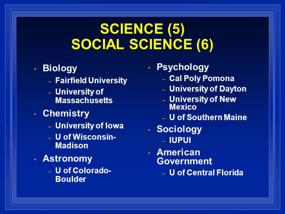 SCIENCE (5) SOCIAL SCIENCE (6) Biology – Fairfield University – University of Massachusetts Chemistry – University of Iowa – U of Wisconsin- Madison Astronomy – U of Colorado- Boulder Psychology – Cal Poly Pomona – University of Dayton – University of New Mexico – U of Southern Maine Sociology – IUPUI American Government – U of Central Florida