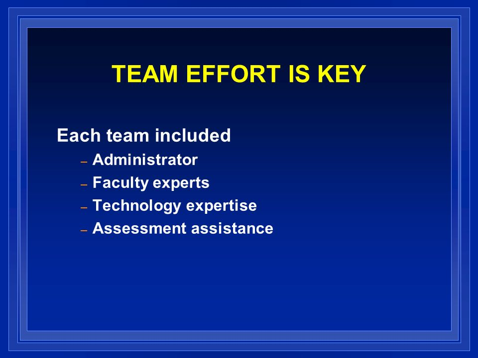 TEAM EFFORT IS KEY Each team included – Administrator – Faculty experts – Technology expertise – Assessment assistance