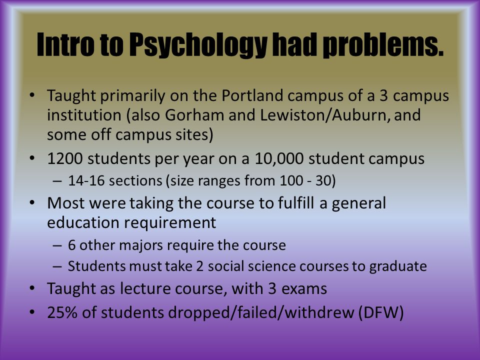 Intro to Psychology had problems.