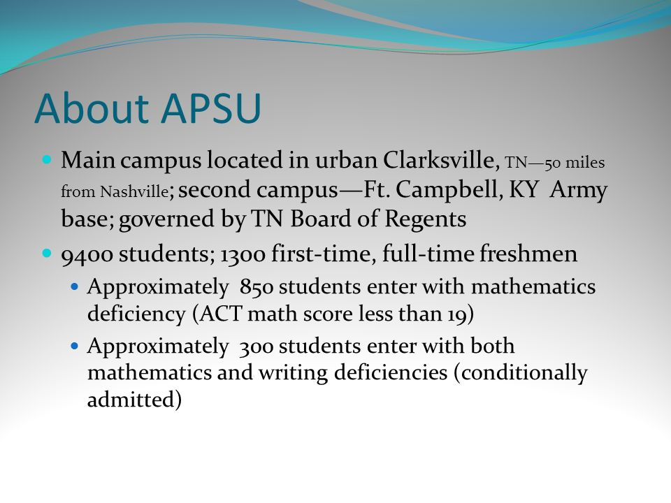 About APSU Main campus located in urban Clarksville, TN50 miles from Nashville ; second campusFt.
