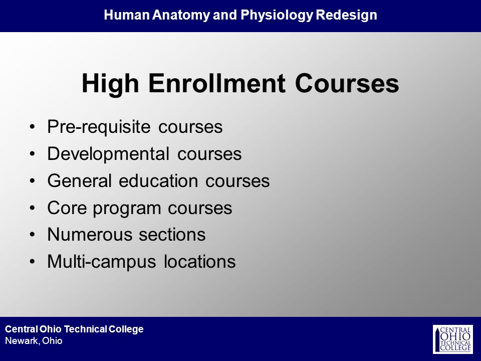 Human Anatomy and Physiology Redesign Central Ohio Technical College Newark, Ohio High Enrollment Courses Pre-requisite courses Developmental courses General education courses Core program courses Numerous sections Multi-campus locations