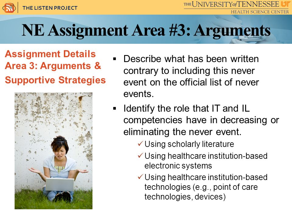 THE LISTEN PROJECT NE Assignment Area #3: Arguments Assignment Details Area 3: Arguments & Supportive Strategies Describe what has been written contrary to including this never event on the official list of never events.
