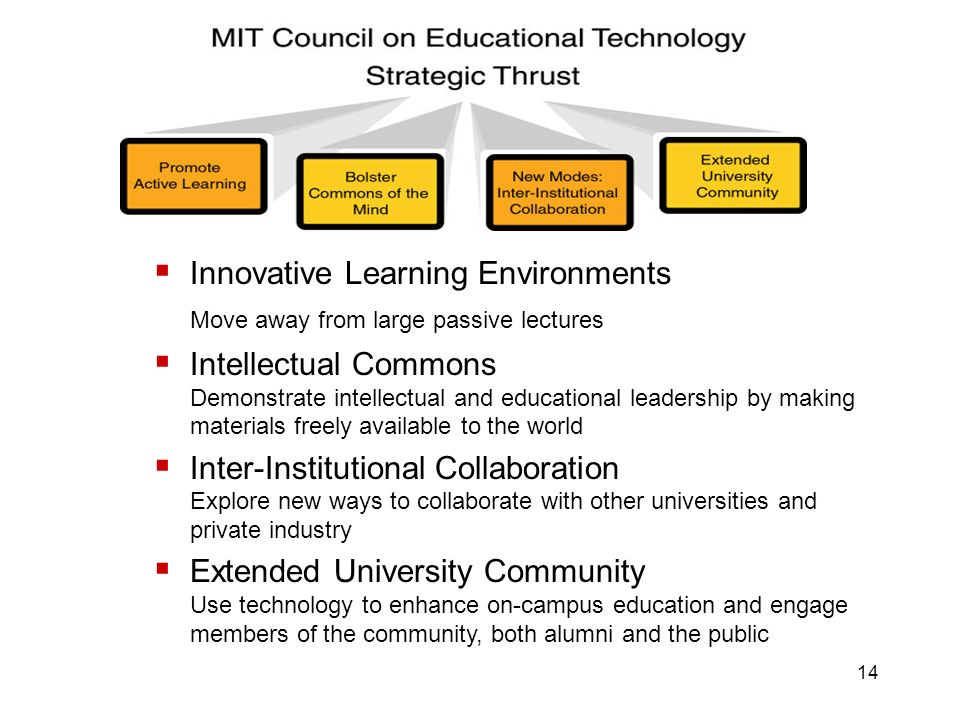 14 Innovative Learning Environments Move away from large passive lectures Intellectual Commons Demonstrate intellectual and educational leadership by making materials freely available to the world Inter-Institutional Collaboration Explore new ways to collaborate with other universities and private industry Extended University Community Use technology to enhance on-campus education and engage members of the community, both alumni and the public