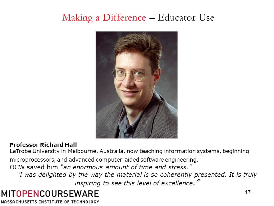 17 Professor Richard Hall LaTrobe University in Melbourne, Australia, now teaching information systems, beginning microprocessors, and advanced computer-aided software engineering.