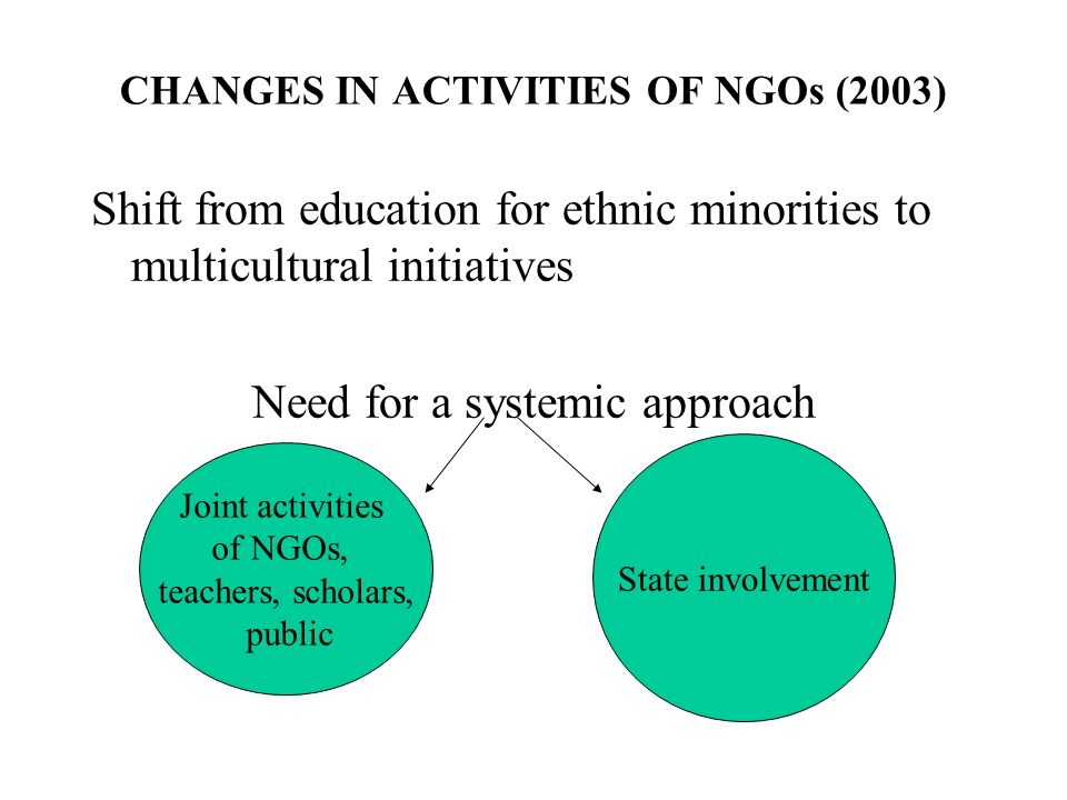 CHANGES IN ACTIVITIES OF NGOs (2003) Shift from education for ethnic minorities to multicultural initiatives Need for a systemic approach Joint activities of NGOs, teachers, scholars, public State involvement