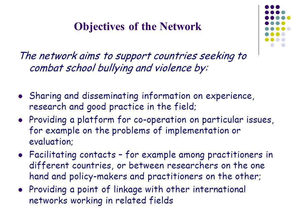 Objectives of the Network The network aims to support countries seeking to combat school bullying and violence by: Sharing and disseminating information on experience, research and good practice in the field; Providing a platform for co-operation on particular issues, for example on the problems of implementation or evaluation; Facilitating contacts – for example among practitioners in different countries, or between researchers on the one hand and policy-makers and practitioners on the other; Providing a point of linkage with other international networks working in related fields