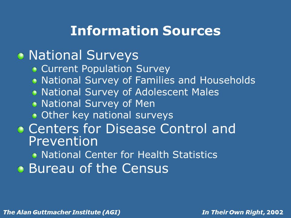 In Their Own Right, 2002The Alan Guttmacher Institute (AGI) Information Sources National Surveys Current Population Survey National Survey of Families and Households National Survey of Adolescent Males National Survey of Men Other key national surveys Centers for Disease Control and Prevention National Center for Health Statistics Bureau of the Census