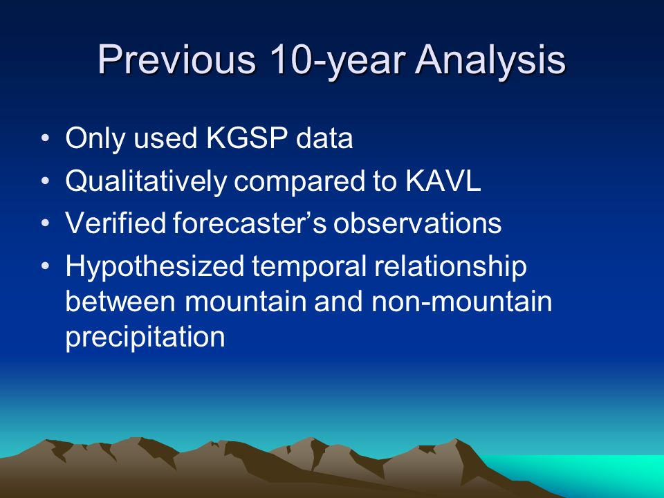 Previous 10-year Analysis Only used KGSP data Qualitatively compared to KAVL Verified forecasters observations Hypothesized temporal relationship between mountain and non-mountain precipitation