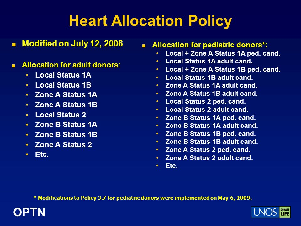 OPTN Heart Allocation Policy Modified on July 12, 2006 Allocation for adult donors: Local Status 1A Local Status 1B Zone A Status 1A Zone A Status 1B Local Status 2 Zone B Status 1A Zone B Status 1B Zone A Status 2 Etc.