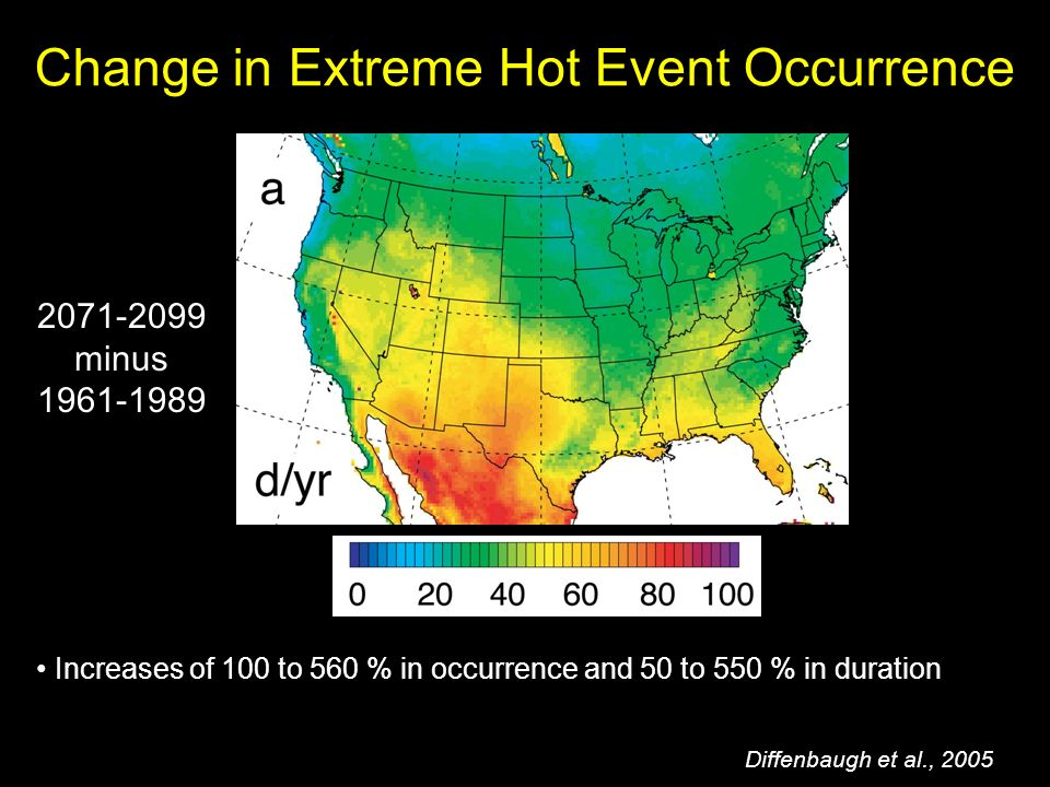 Increases of 100 to 560 % in occurrence and 50 to 550 % in duration Change in Extreme Hot Event Occurrence Diffenbaugh et al., minus