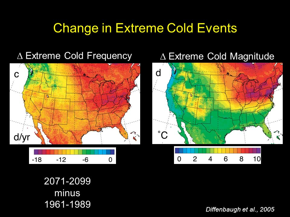 Change in Extreme Cold Events Extreme Cold Frequency Extreme Cold Magnitude minus Diffenbaugh et al., 2005