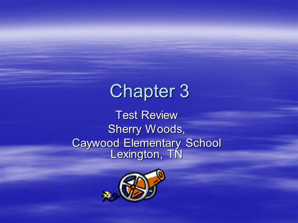 Chapter 3 Chapter 3 Test Review Sherry Woods, Caywood Elementary School Lexington, TN