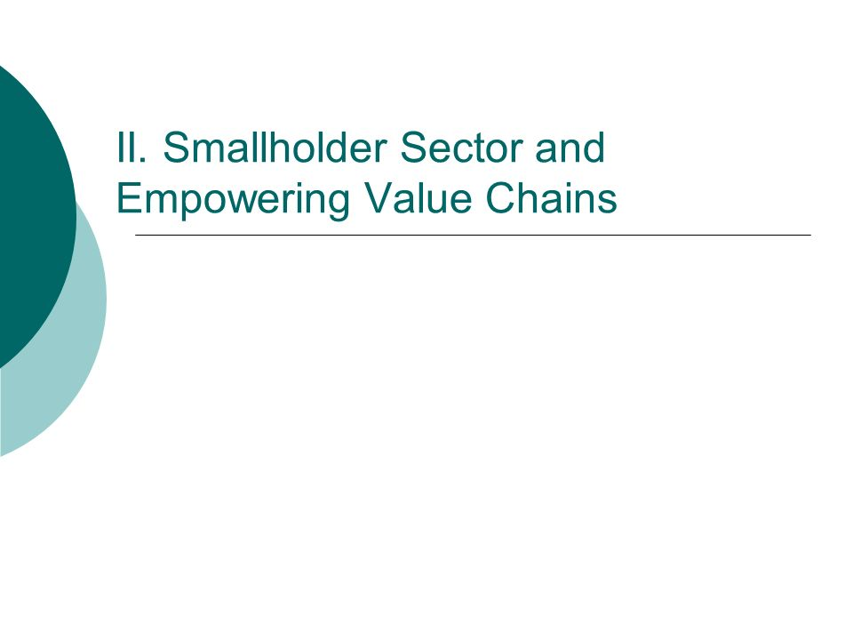 II. Smallholder Sector and Empowering Value Chains