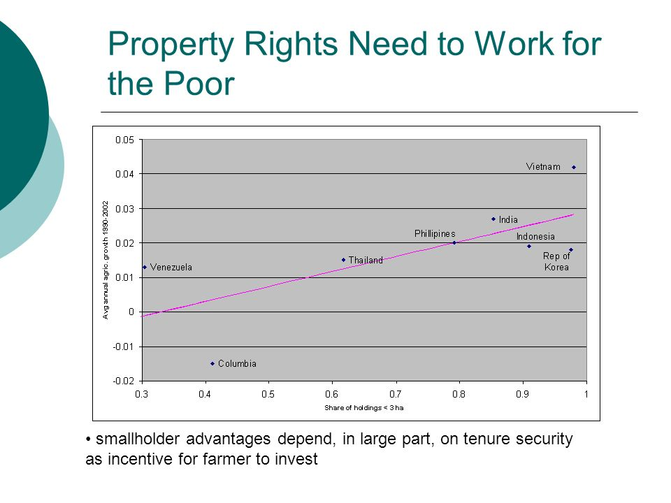 Property Rights Need to Work for the Poor smallholder advantages depend, in large part, on tenure security as incentive for farmer to invest