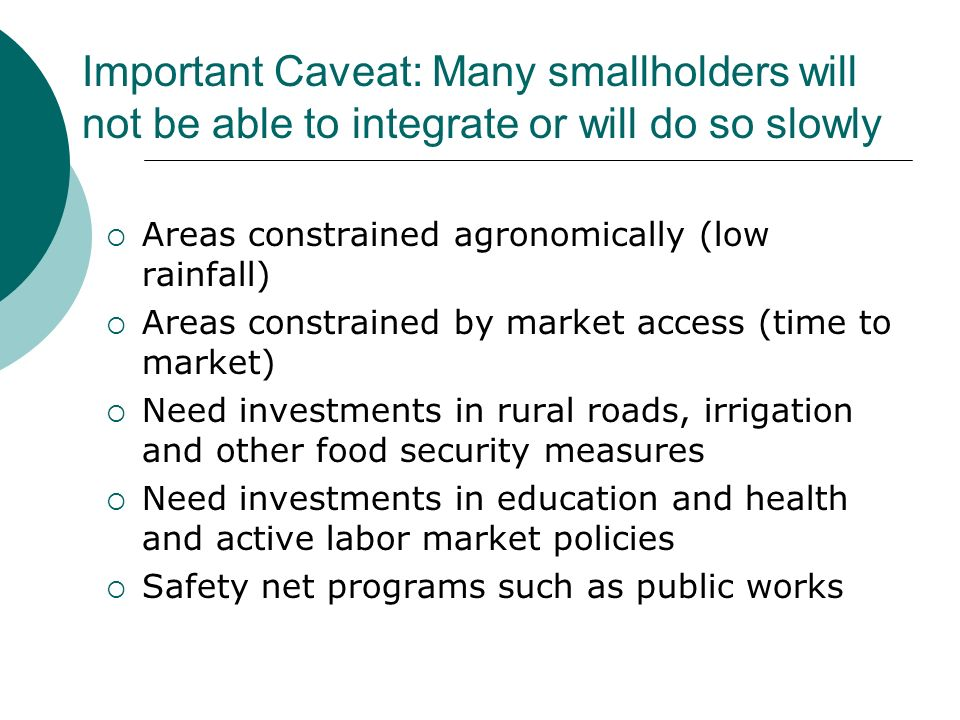 Important Caveat: Many smallholders will not be able to integrate or will do so slowly Areas constrained agronomically (low rainfall) Areas constrained by market access (time to market) Need investments in rural roads, irrigation and other food security measures Need investments in education and health and active labor market policies Safety net programs such as public works