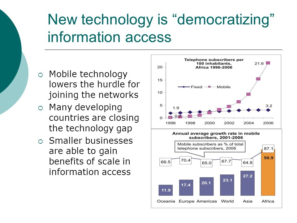 New technology is democratizing information access Mobile technology lowers the hurdle for joining the networks Many developing countries are closing the technology gap Smaller businesses are able to gain benefits of scale in information access