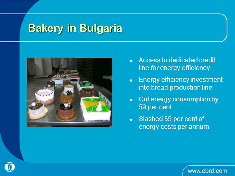 Bakery in Bulgaria Access to dedicated credit line for energy efficiency Energy efficiency investment into bread production line Cut energy consumption by 59 per cent Slashed 85 per cent of energy costs per annum