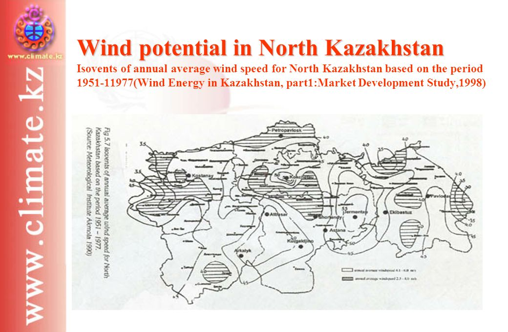 Wind potential in North Kazakhstan Wind potential in North Kazakhstan Isovents of annual average wind speed for North Kazakhstan based on the period 1951-11977(Wind Energy in Kazakhstan, part1:Market Development Study,1998)