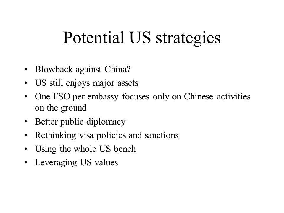 Potential US strategies Blowback against China.