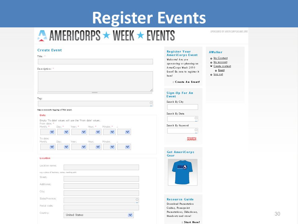 Register Events 30