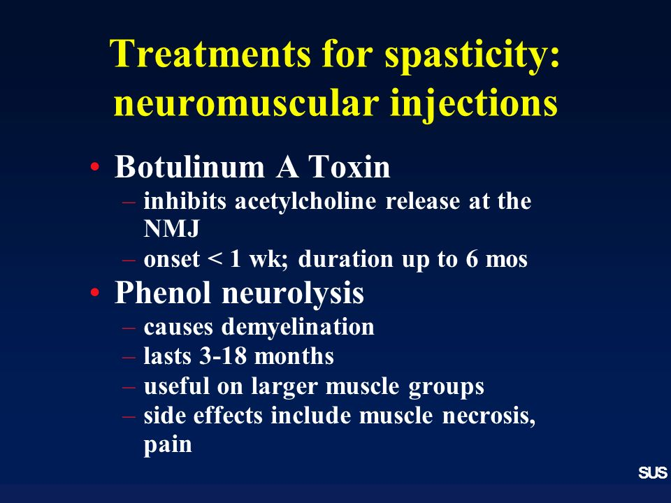 SUS Treatments for spasticity: neuromuscular injections Botulinum A Toxin –inhibits acetylcholine release at the NMJ –onset < 1 wk; duration up to 6 mos Phenol neurolysis –causes demyelination –lasts 3-18 months –useful on larger muscle groups –side effects include muscle necrosis, pain