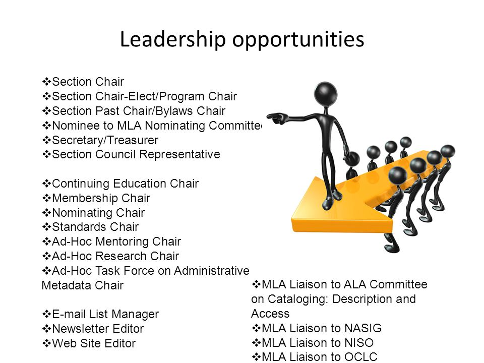 Leadership opportunities Section Chair Section Chair-Elect/Program Chair Section Past Chair/Bylaws Chair Nominee to MLA Nominating Committee Secretary/Treasurer Section Council Representative Continuing Education Chair Membership Chair Nominating Chair Standards Chair Ad-Hoc Mentoring Chair Ad-Hoc Research Chair Ad-Hoc Task Force on Administrative Metadata Chair E-mail List Manager Newsletter Editor Web Site Editor MLA Liaison to ALA Committee on Cataloging: Description and Access MLA Liaison to NASIG MLA Liaison to NISO MLA Liaison to OCLC