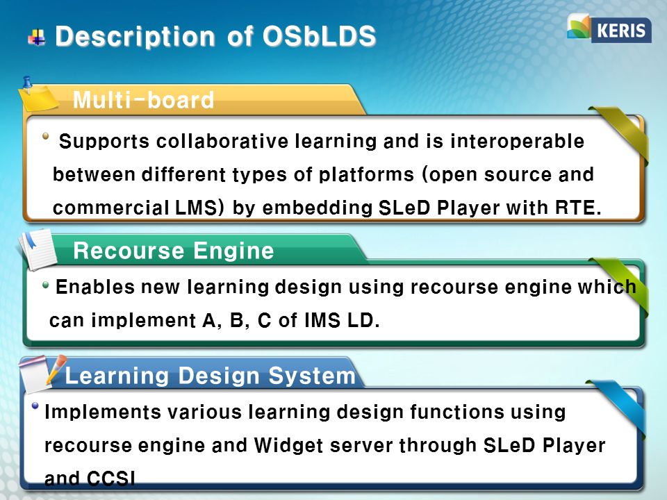 Description of OSbLDS Description of OSbLDS Enables new learning design using recourse engine which can implement A, B, C of IMS LD.